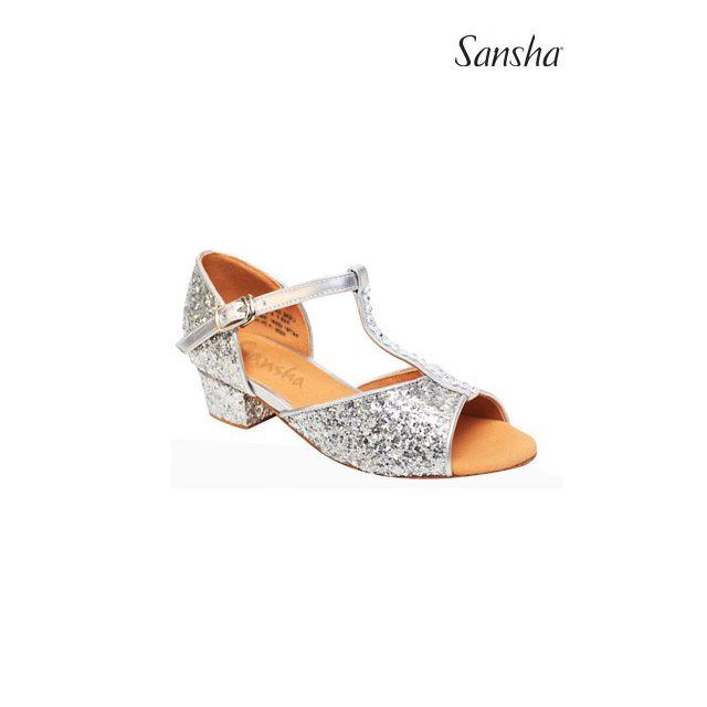 BK13046GL ALEXA Dívčí třpytivá obuv na společenské tance