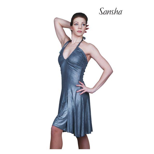 L7703P DIANARA Ballroom metallic halter dress